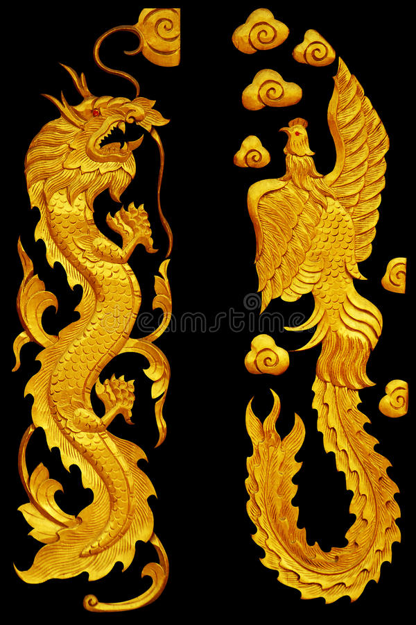Ornament elements, vintage Golden Dragonl and swan designs. Ornament elements, vintage Golden Dragonl and swan stock photography