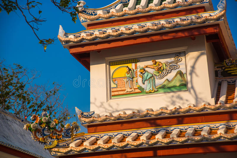 Ornament, a fragment of decoration,the buddhist temple, Vietnam.Bangkok. stock photography