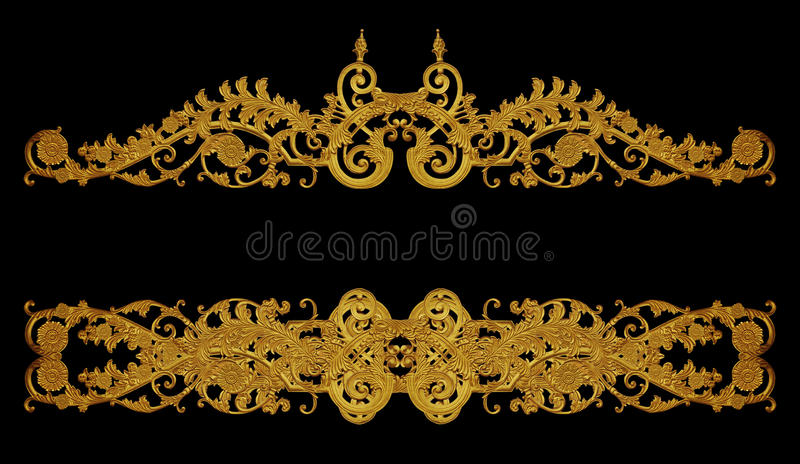 Ornament of gold plated vintage floral ,victorian Style stock photos