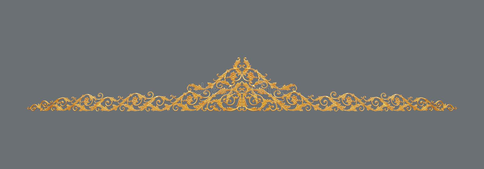 Ornament of gold plated vintage floral ,victorian Style. The Ornament of gold plated vintage floral ,victorian Style stock image