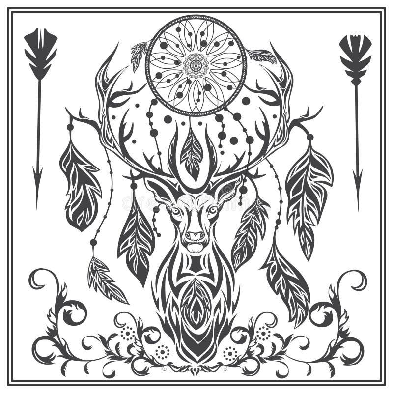 Ornament grafika jeleni piórka, strzała, Dreamcatcher ilustracja wektor