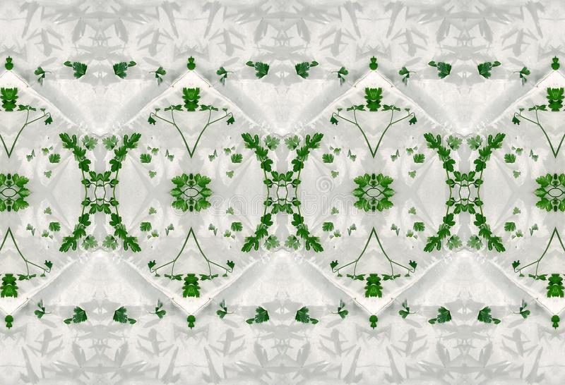 Ornament of green leaves in ice. stock image