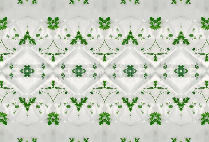Ornament of green leaves in ice. royalty free stock photos