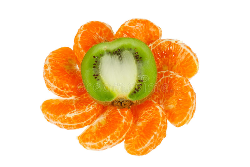 Ornament of the halves kiwi and tangerine slices royalty free stock image