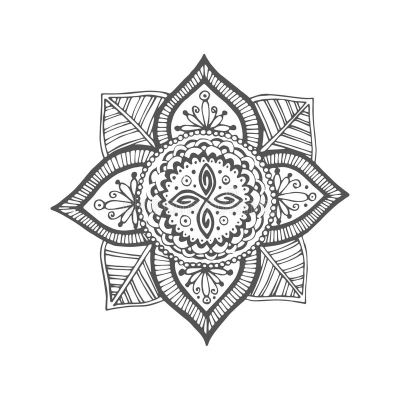 Ornament. Mandala. Isolated object. The image can be used for your business as an advertisement in yoga studios, shaping, health centers, fitness stock illustration