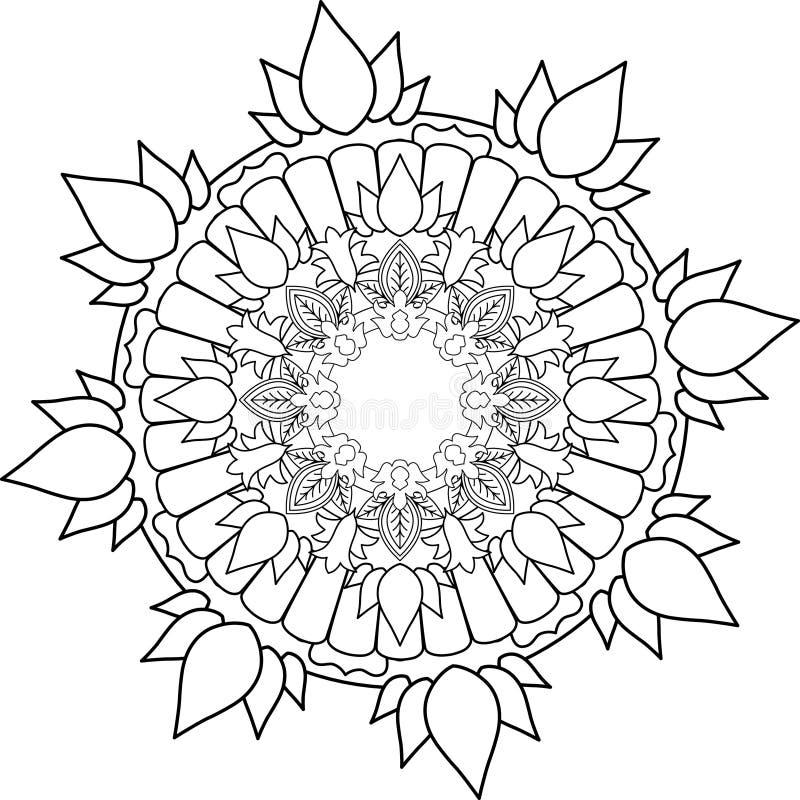 Ornament a mandala, tirando com linhas de coloração, no backgrou branco ilustração do vetor