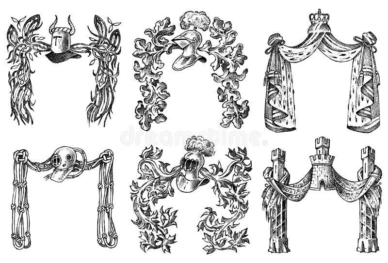 Ornament met kalligrafische elementen in barokke stijl Middeleeuwse uitstekende wapenkunde Het bloeien van Decoratie voor de lage vector illustratie