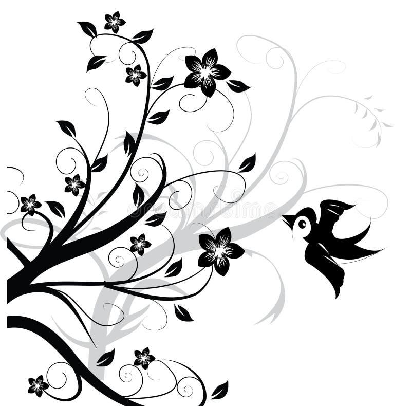 Ornament met vogel royalty-vrije illustratie