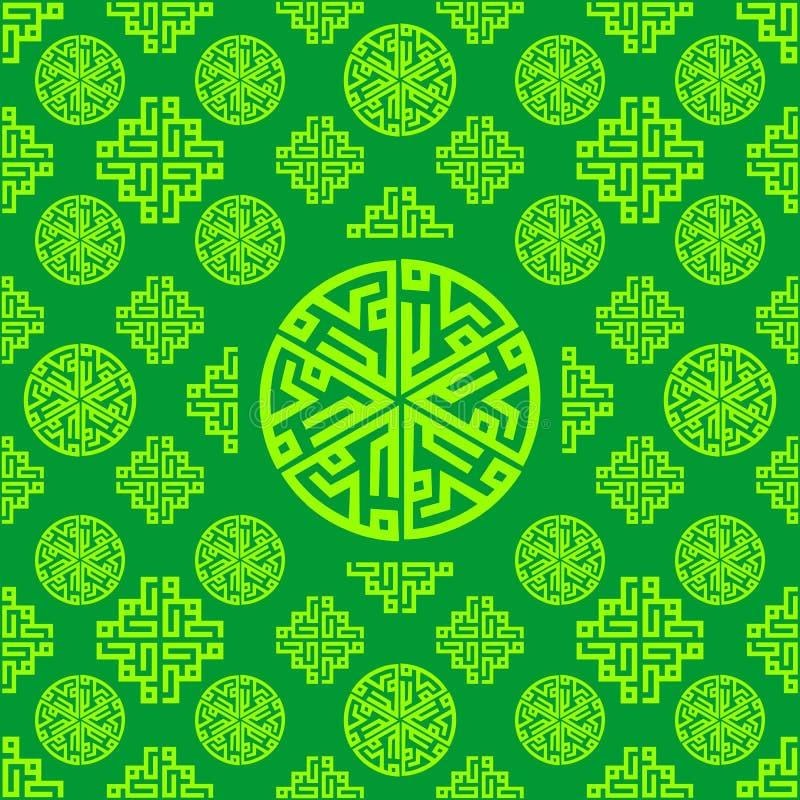 Ornament, orientał, język arabski, Islamski, Zielony Bezszwowy deseniowy tekstury tło, Wektorowy Ramadan Mubarak ilustracji