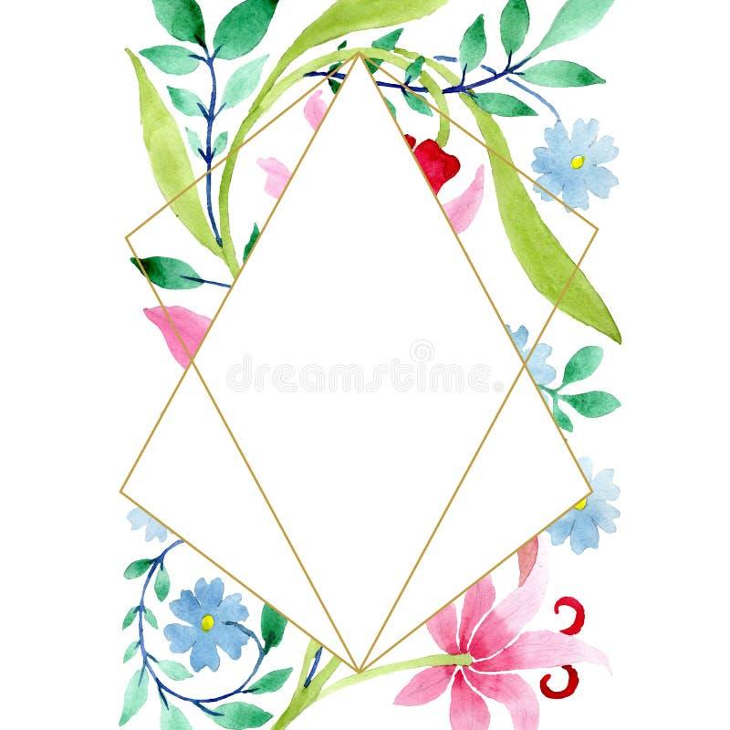 Ornament pink and blue floral botanical flowers. Watercolor background illustration set. Frame border ornament square. stock illustration