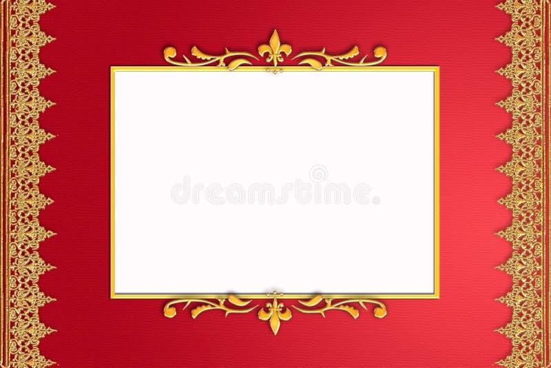 ornament ramowa złota czerwień ilustracji