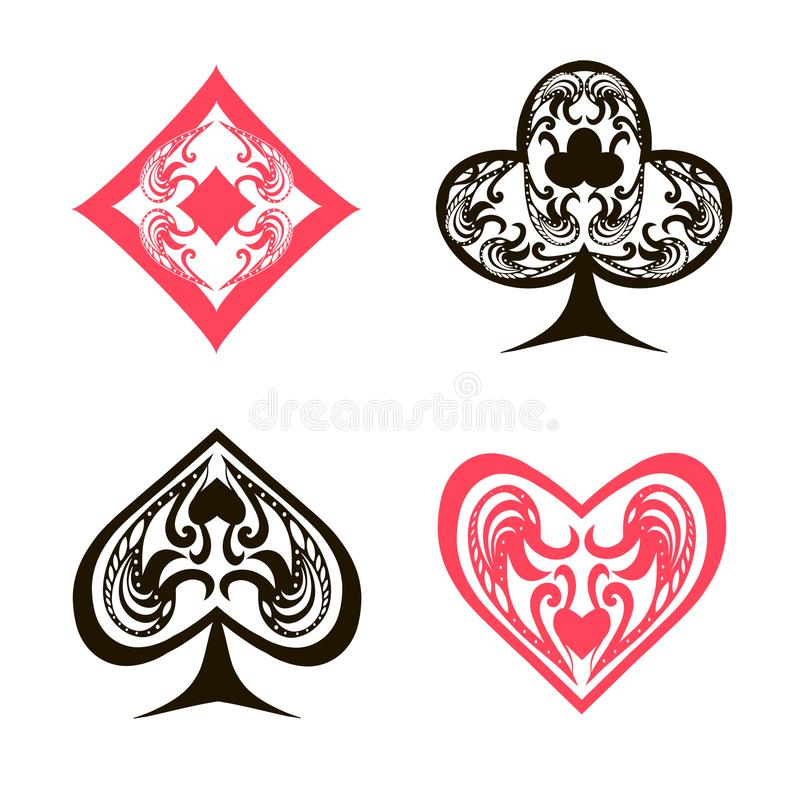 Ornament red and black spades hearts, diamonds, clubs, poker, cards symbols set on white background stock illustration