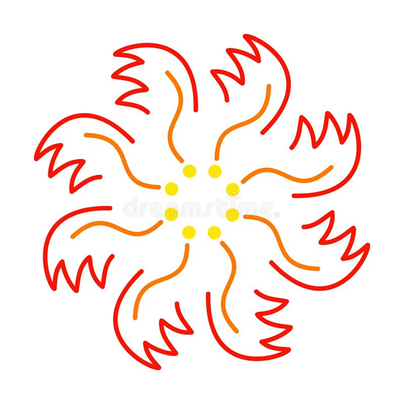 Ornament of red-yellow flower or fire phoenix vector illustration