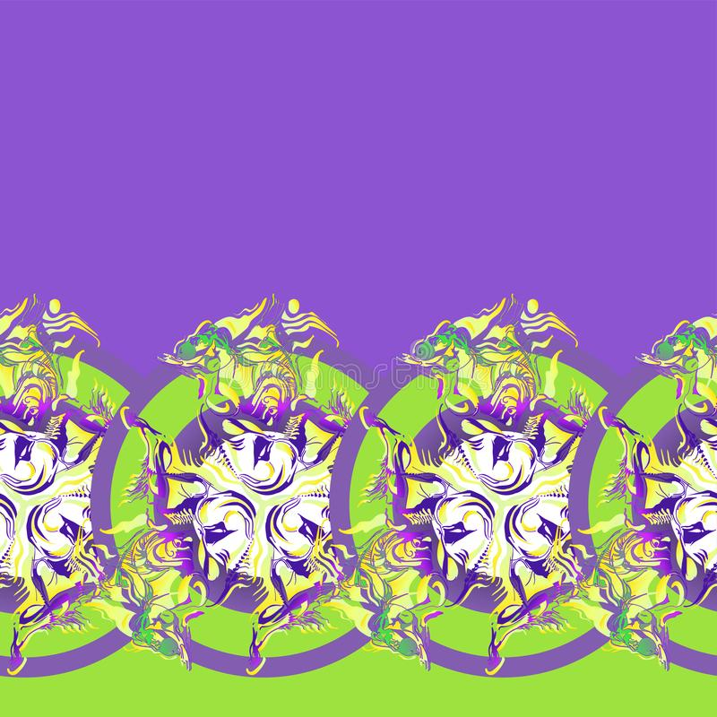 Ornament of repeating trefoils enclosed in circle stock illustration