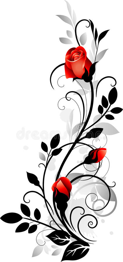 Ornament with rose stock illustration