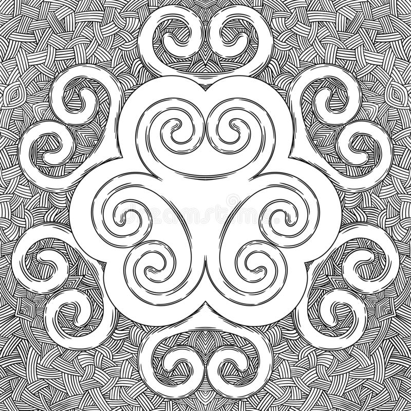 The ornament is round, pattern, curls, ornaments vector illustration
