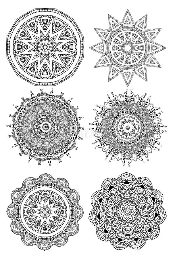 Ornament round set with mandala. Geometric circle element made in vector. Perfect set for any other kind of design, birthday and other holiday, kaleidoscope vector illustration