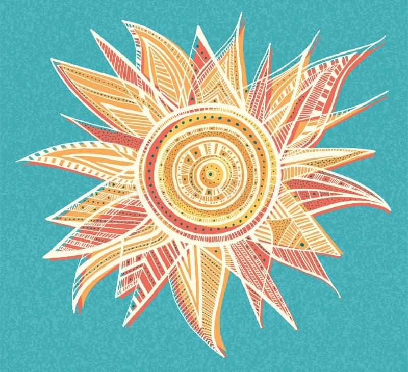 Ornament sun illustration royalty free stock photos