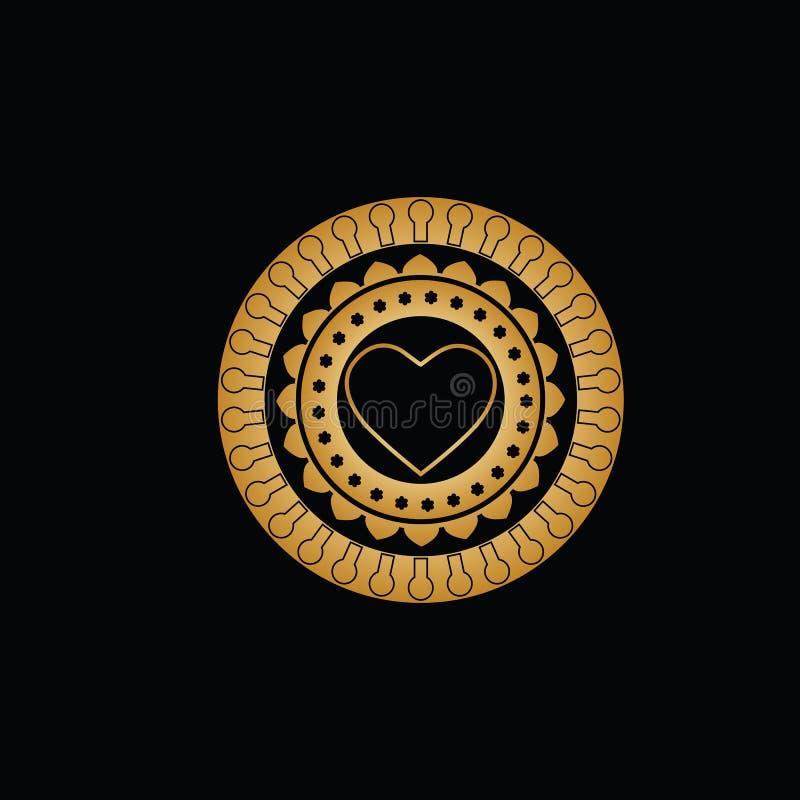 Ornament van cirkels met patronen van sleutelgaten; bloemblaadjes; kleine bloemen en een gouden contour van hart in het midden royalty-vrije illustratie