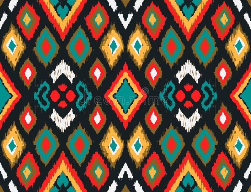 Ornament van de Ikat het geometrische folklore met diamanten Stammen etnische vectortextuur royalty-vrije illustratie