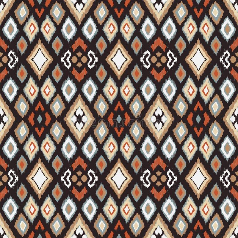 Ornament van de Ikat het geometrische folklore met diamanten Stammen etnische vectortextuur stock illustratie