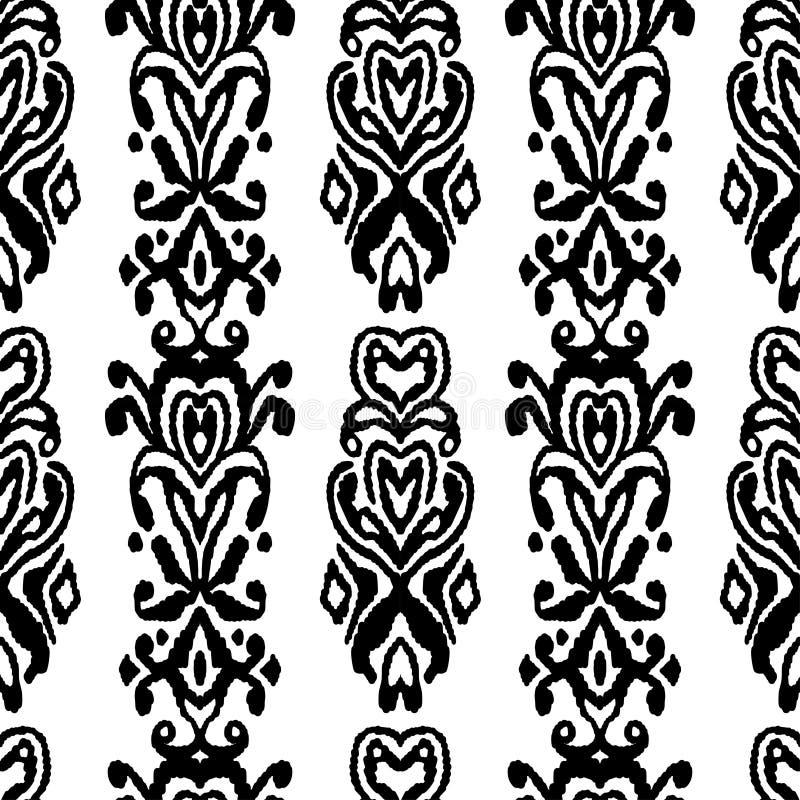 Ornament van de patroon het naadloze folklore Stammen etnische vectortextuur Gestreepte borstel in Azteekse stijl Cijfer stammenb royalty-vrije illustratie