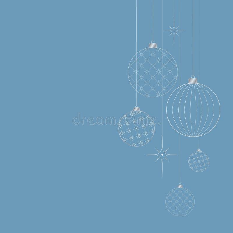 Ornament van de witte ballen van het decoratieve lichte Nieuwjaar voor Kerstmis en Nieuwjaarpatroon voor prentbriefkaaruitnodigin stock illustratie