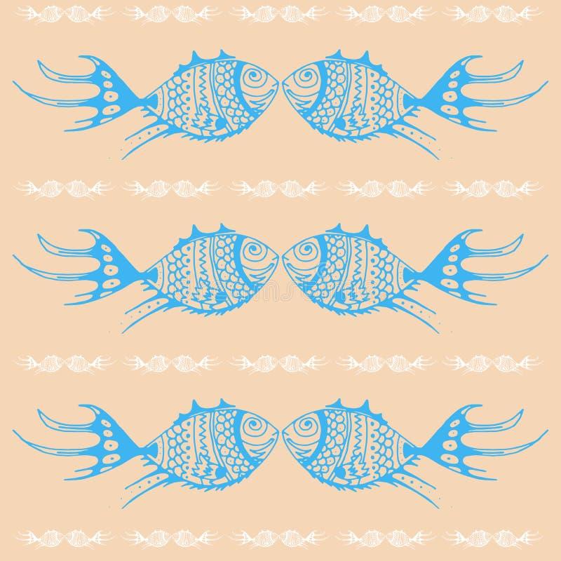 Ornament van gestileerde blauwe vissen. royalty-vrije stock afbeelding