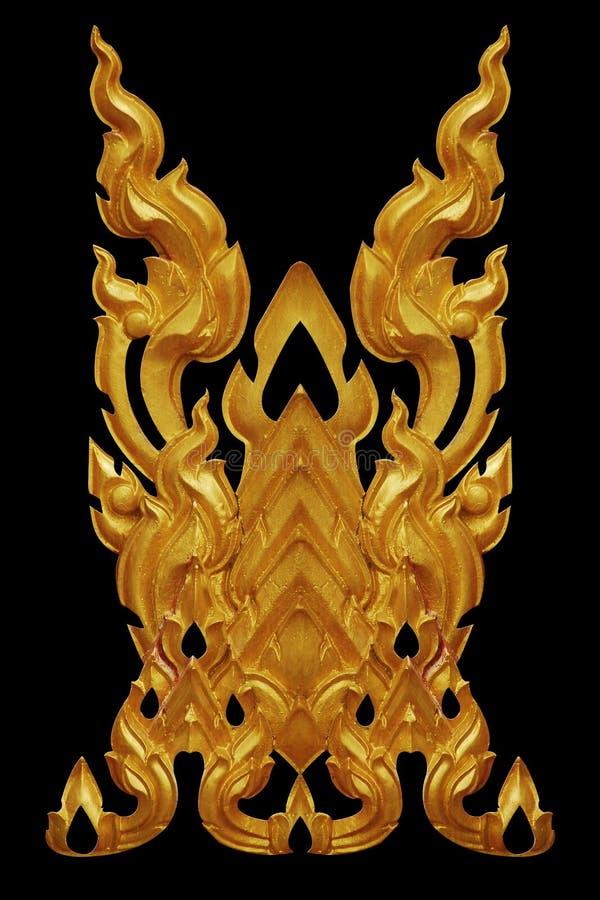 Ornament van goud geplateerde uitstekende bloemen, Thaise kunststijl stock foto
