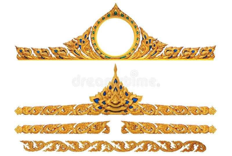 Ornament van goud geplateerde wijnoogst bloemen stock afbeelding
