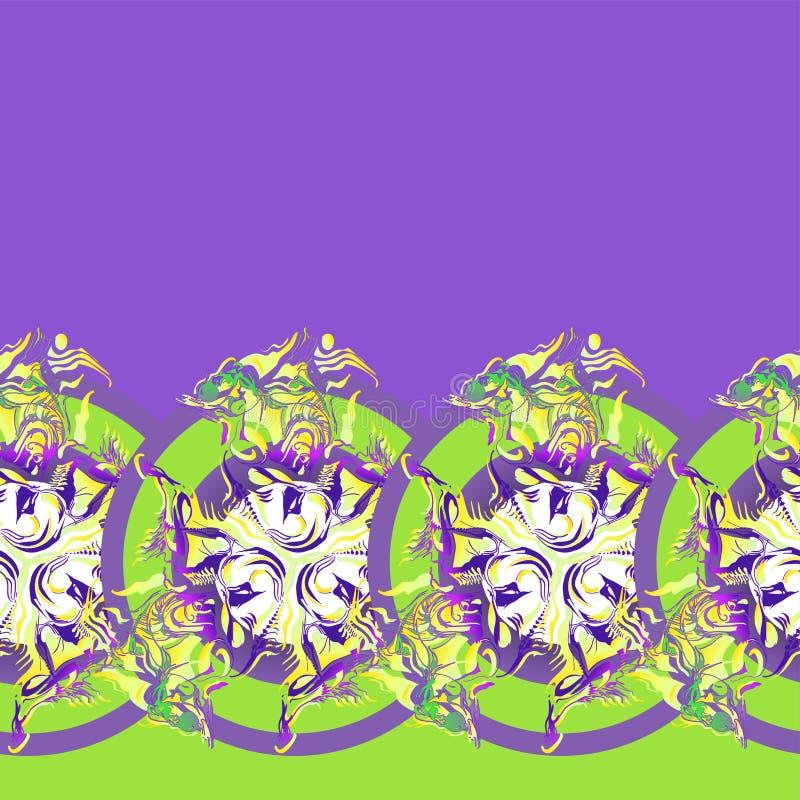 Ornament van het herhalen van klaver in cirkel wordt ingesloten die stock illustratie