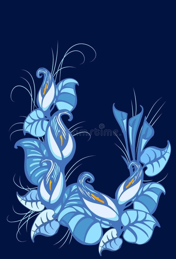Ornament van lelies en bladeren Vectorillustratie van Calla lelies vector illustratie
