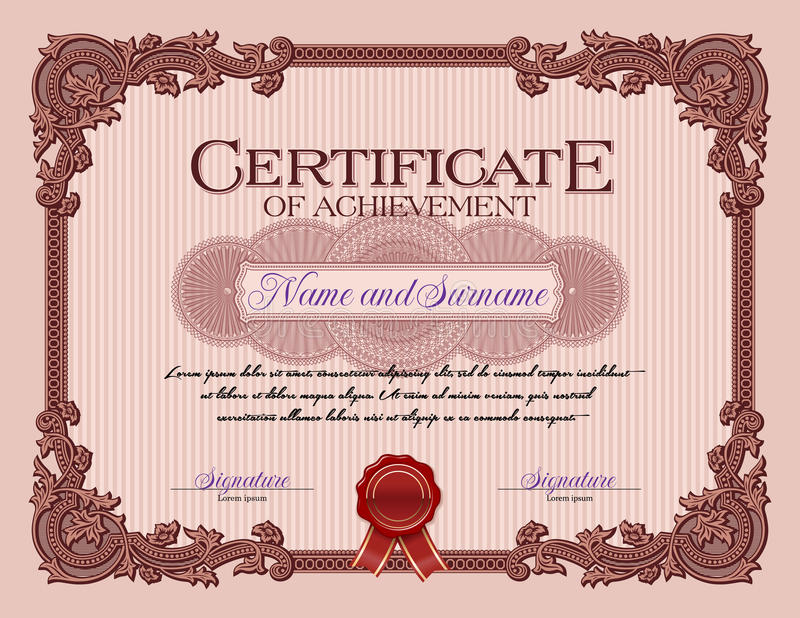 Ornament Vintage Frame Certificate of Achievement Red stock illustration