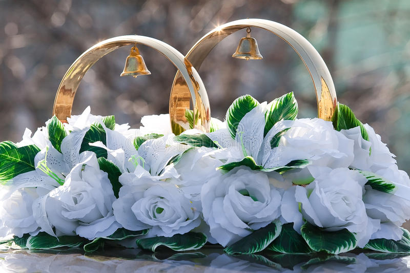 Ornament of the wedding car stock photos