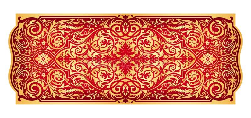 ornament wschodnia złocista czerwień royalty ilustracja