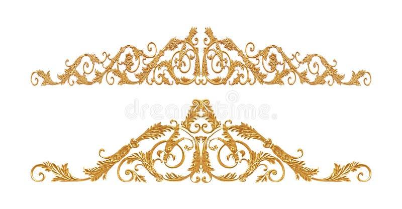 Ornament złoto matrycujący rocznik kwiecisty, wiktoriański styl zdjęcie stock