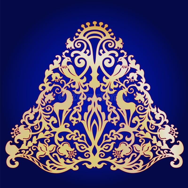 Ornament z zwierzętami i ptakami w formie choinka ilustracji