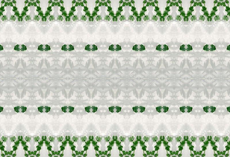 Ornament zieleń liście w lodzie fotografia stock