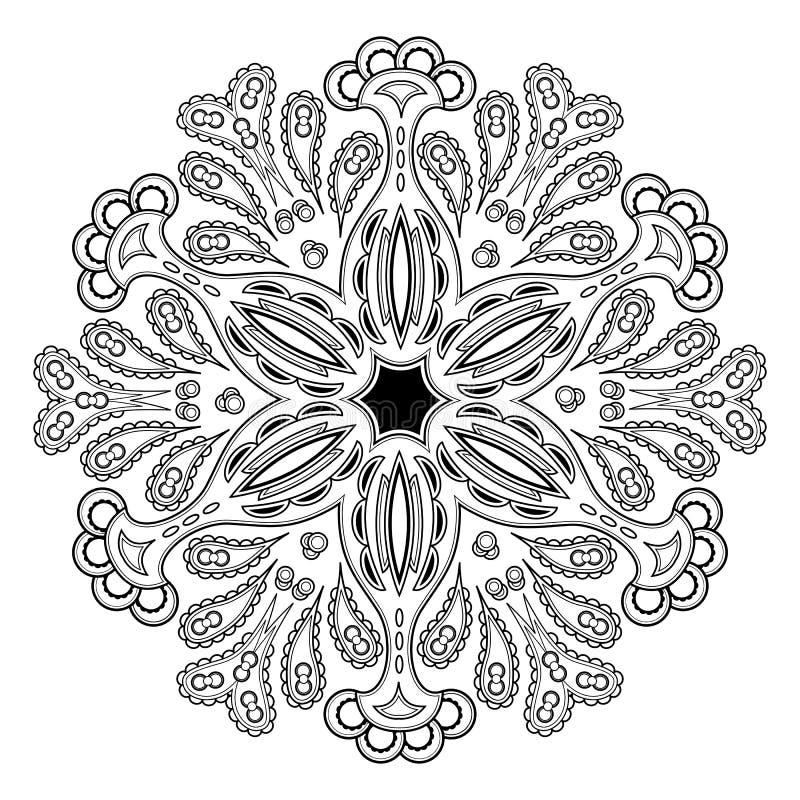 Ornament zwart-witte kaart met mandala royalty-vrije illustratie
