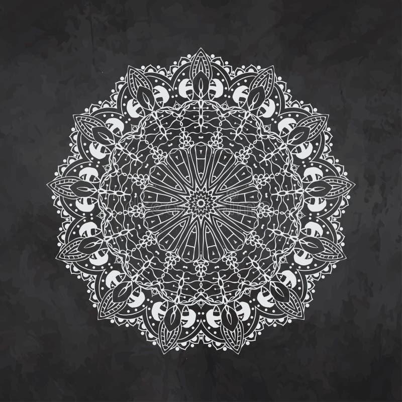 Ornament zwarte witte kaart met mandala royalty-vrije illustratie