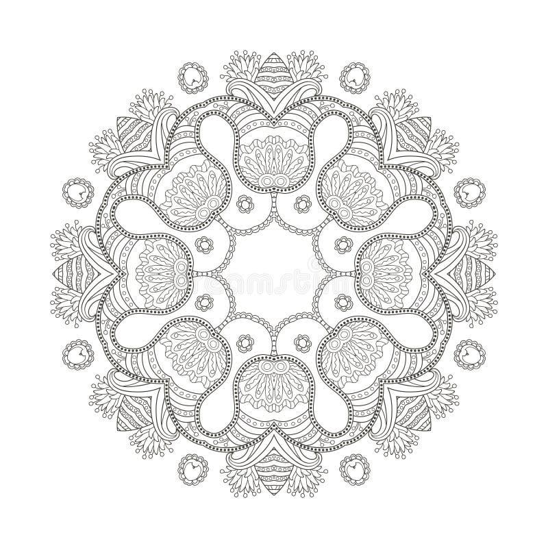 Ornament zwarte witte kaart met mandala stock illustratie