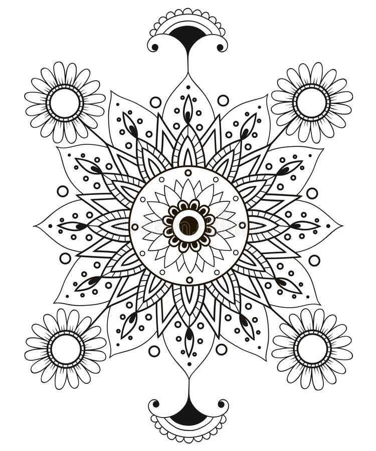 Ornament zwarte witte kaart met mandala Geometrisch gemaakt cirkelelement royalty-vrije illustratie