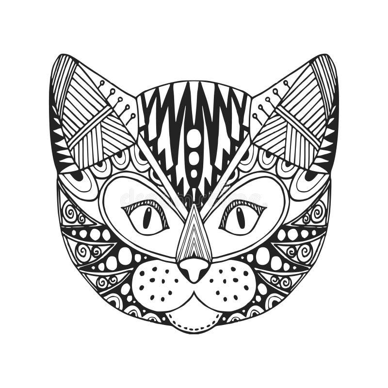Ornamentacyjna głowa kot, modny etniczny zentangle projekt, ręka rysująca, royalty ilustracja