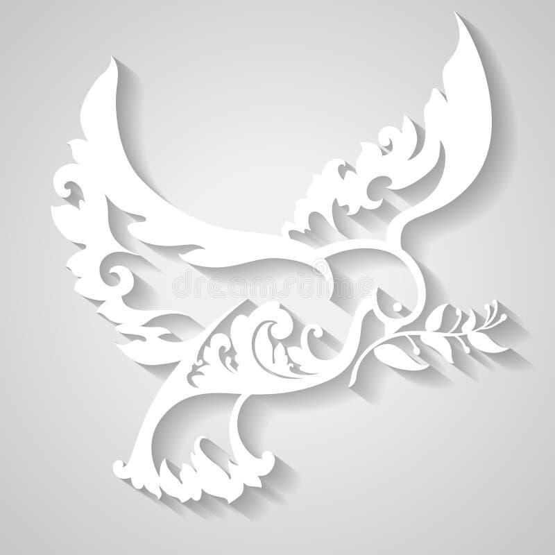 Ornamentacyjna gołąbka z gałązką oliwną Symbol pokój ilustracja wektor