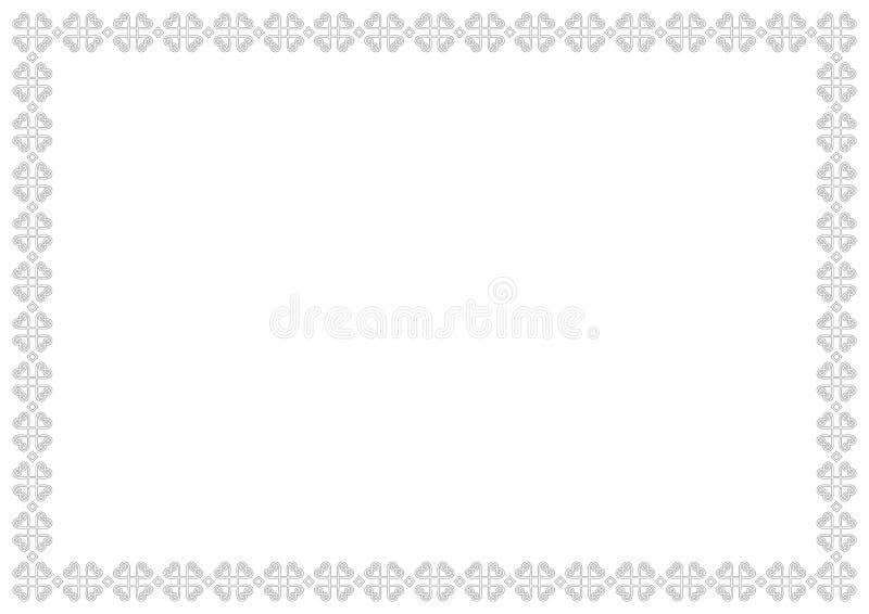 Ornamentacyjna granica lub rama na białym tle w bielu z czerń konturami odizolowywającymi ilustracja wektor