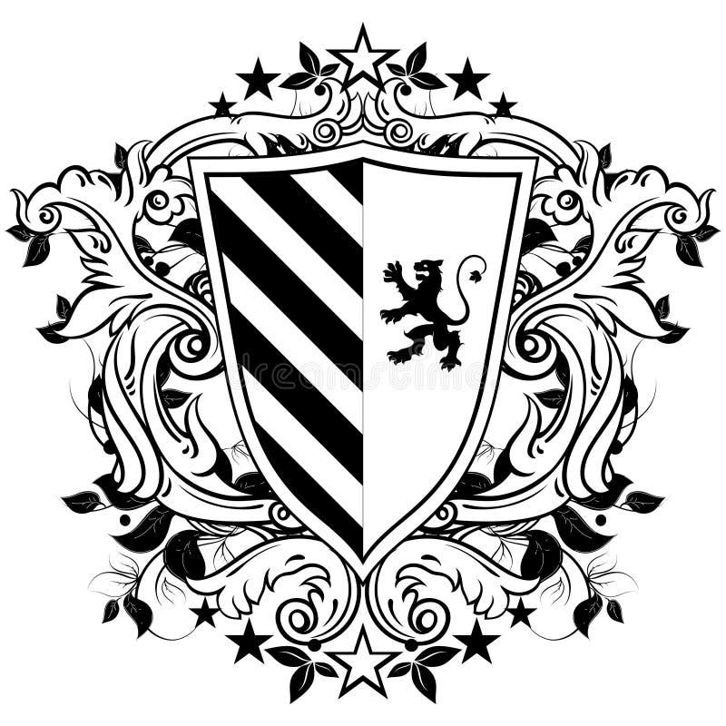 Ornamentacyjna heraldyczna osłona ilustracja wektor