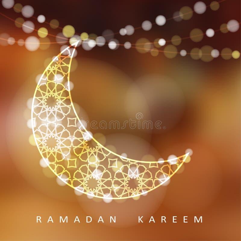 Ornamentacyjna księżyc z światłami, Ramadan ilustracja