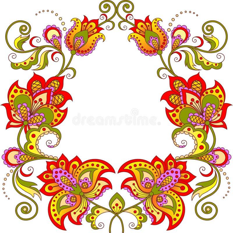 Ornamentacyjna kwiecista owal rama ilustracja wektor