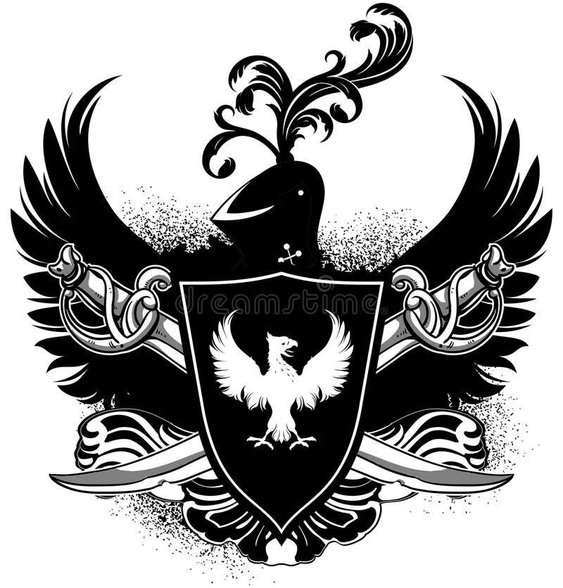 Ornamentacyjna osłona z rękami royalty ilustracja
