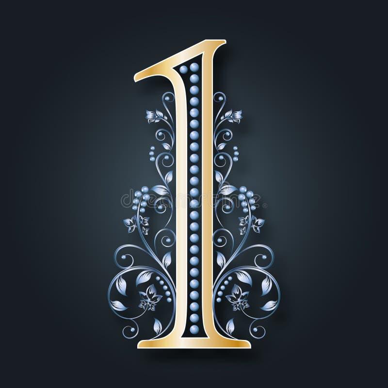 Ornamentacyjna postać 1 Kolekcja wektorowe liczby Ilustracja kwieciste liczby Złoto i srebro monogram royalty ilustracja